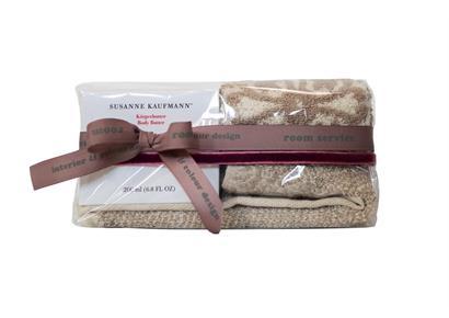 Geschenksverpackung 2.0: Cellophan & Schleife rosé-grau