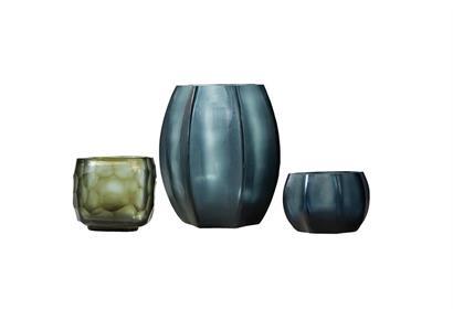 Glass Menagerie 1.0: Vase & Teelichter, blau-grau