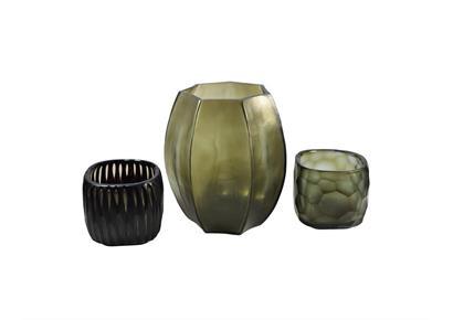 Glass Menagerie 2.0: Vase & Teelichter, grau-schwarz