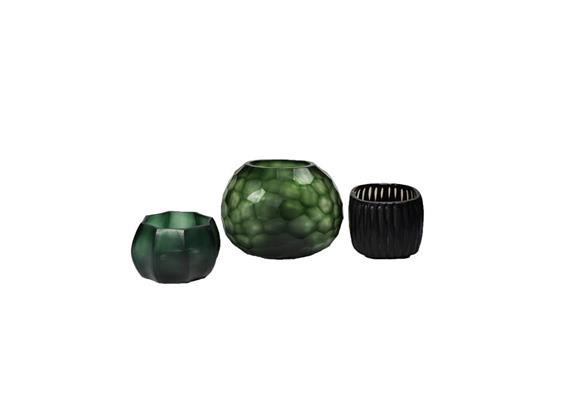 Glass Menagerie 3.0: Vase & Teelichter, grün-schwarz