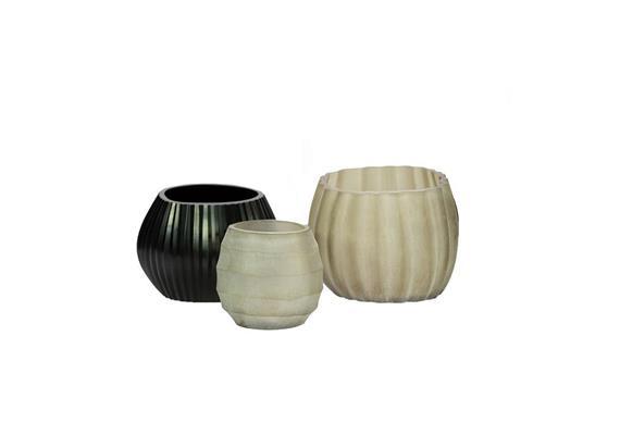 Glass Menagerie 5.0: Vase & Teelichter, schwarz-sand