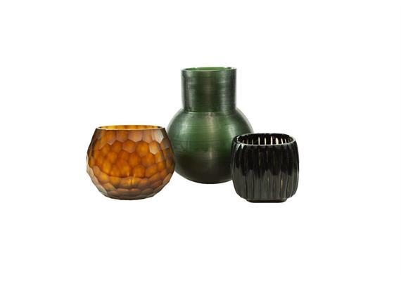 Glass Menagerie 8.0: Vase & Teelichter, grün-ocker-schwarz