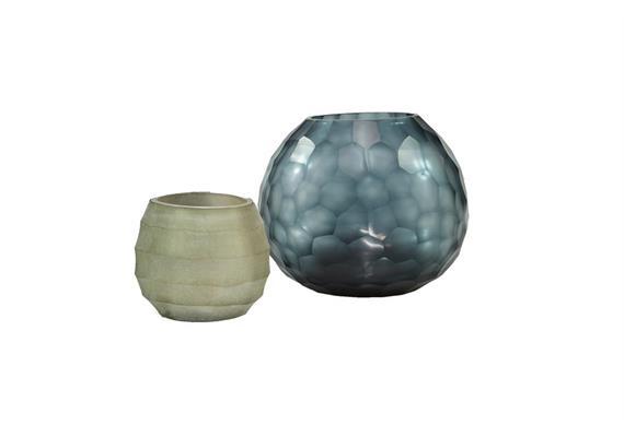 Glass Menagerie 9.0: Vase & Teelichter, blau-sand